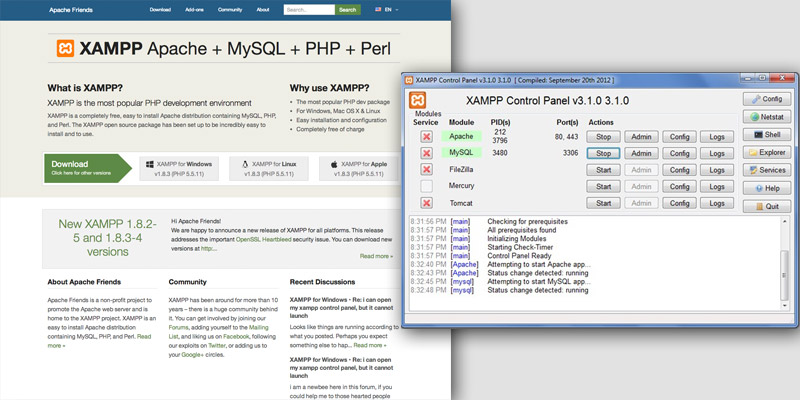XAMPP homepage and server window