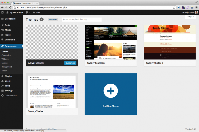 WordPress Add New Theme