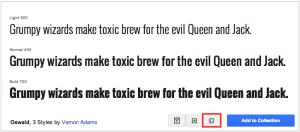 Google Fonts popout