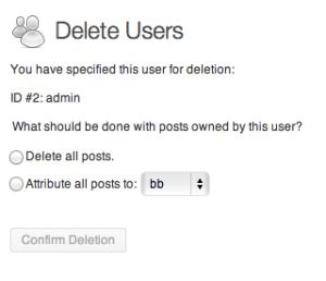 delete admin and attribute posts to